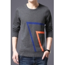 Unique Awesome Stripe Print Men's Crew Neck Fitted Pullover Jumper Sweater