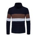 Hot Popular Colorblock British Style Turtleneck Long Sleeve Slim Fit Sweater