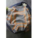 Unisex Vintage Striped Round Neck Long Sleeve Loose Grey Pullover Sweater