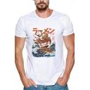 New Fashion Japanese Comic Noodle Sailing Boat Sea Print Short Sleeve White T-Shirt
