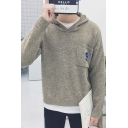 Simple Number 9 Pocket Chest Long Sleeve Hooded Casual Sweater for Men
