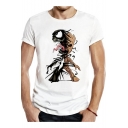 Venom Comic Figure Print Short Sleeve Round Neck White T-Shirt