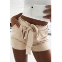 Women's Hot Fashion Elastic Waist Bow Tied Front Casual Shorts
