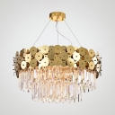 Modern Drum Chandelier with Clear Crystal Metal 8/12/20 Lights Brass Chandelier Light for Living Room