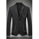 Popular Notched Lapel Collar Single Button Long Sleeve Plain Mens Suits Sport Coats