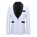New Arrival Simple Long Sleeve Shawl Collar Single Button White Mens Tuxedo Suit