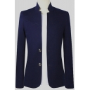 Chinese Style Plain Stand Collar Double Button Front Long Sleeve Slim Wedding Suit for Groom