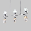 6/12 Lights Linear/Ring Chandelier Modern Metal Ceiling Pendant in Chrome for Living Room