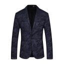 Men's Classic Camo Pattern Long Sleeve Notched Lapel Collar Single Button Slim Fitted Blazer Suit for Men