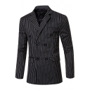Men's Vertical Stripes Printed Notched Lapel Double Breasted Long Sleeve Dress Suit Blazer