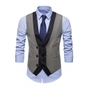 New Trendy Color Block Button Front Buckle Back Suit Vest for Men
