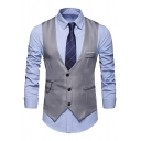 Hot Sale Chain Embellished Solid Color Single Breasted Men's Suit Vest