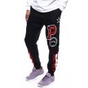 Stylish Color Block Striped Star Letter P Print Drawstring Waist Casual Cotton Black Pants Sweatpants
