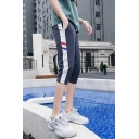 Guys Striped Side Drawstring-Waist Casual Cotton Summer Beach Sport Shorts