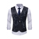 New Trendy Printed Buckle Back Single Breasted Casual Fake Two-Piece Suit Vest for Men