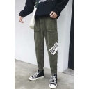Trendy Letter Printed Drawstring Waist Leisure Corduroy Sport Tapered Pants for Men
