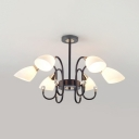 Curved Arm Chandelier Light Living Room Contemporary Ceiling Pendant with Frosted Glass Shade