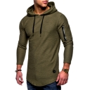 Simple Plain Fashion Zip Patched Long Sleeve Slim Fitted Hooded T-Shirt for Men