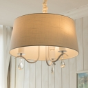 Modern Drum Chandelier with Clear Crystal Decoration 3/5 Lights Metal Pendant Lamp in Green/White