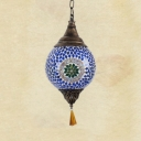 Traditional Lantern Ceiling Light Single Light Porcelain Pendant Lamp in Blue/Light Green/Dark Green