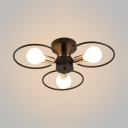 3/6 Light Open Bulb Ceiling Light with Ring Metal Industrial Semi Flush Light in Brass