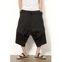 Men's Retro Ethnic Style Relaxed Plain Cropped Linen Drop-Crotch Wide-Leg Harem Pants