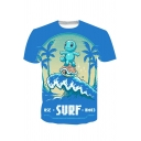 Stylish Game Comic Character Surf Wave Printed Short Sleeve Blue T-Shirt