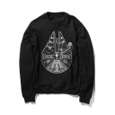 Star Wars Cool Falcon Printed Round Neck Long Sleeve Black Pullover Sweatshirt