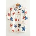 Allover Starfish Fish Pattern Short Sleeve Button Down Apricot Chiffon Shirt