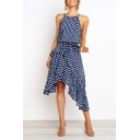 Fashion Polka Dot Printed Spaghetti Straps Sleeveless Tied Waist Midi Asymmetrical Dress