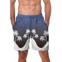 New Stylish Coconut Tree Printed Color Block Elastic-Waist Navy Swim Trunks for Men
