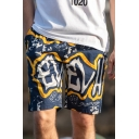 Drawstring Men's Trendy Letter Printed Fast Dry Cotton Loose Swim Shorts with Pockets