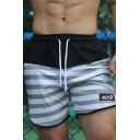 Mens Fashion Stripe Letter WOLF Printed Drawstring-Waist Casual Athletic Shorts
