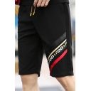 Guys Cool Street Letter Tape Patched Black Loose Casual Sport Knit Shorts