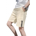 Summer Simple Letter Printed Drawstring Waist Cotton Loose Beach Lounge Shorts