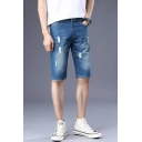 Mens Summer Trendy Distressed Ripped Washed Blue Slim Fit Denim Shorts