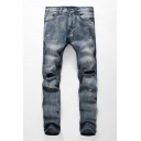 Hot Fashion Ink Dot Printed Knee Cut Ripped Mens Blue Casual Jeans
