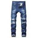 Men's Street Style Ink Dot Printed Pleated Knee Patched Slim Blue Ripped Jeans
