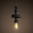 1 Light Open Bulb Pendant Lamp Antique Metal Hanging Ceiling Light with Adjustable Cord in Bronze