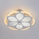 Modern Petal LED Ceiling Fixture Acrylic White Flush Ceiling Light with Clear Crystal for Hallway