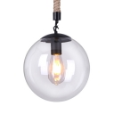 Clear Glass Pendant Lamp Single Light Industrial Hanging Lamp with Globe