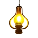 Single Light Pendant Ceiling Light Vintage Metal and Rope Pendant Light for Kitchen