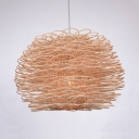 Drum Pendant Lighting Outdoor with Beige Rattan Shade 1 Light Pastoral Lighting Fixture