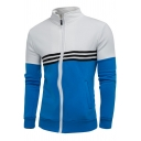 New Stylish Striped Color Block Stand-Up Collar Long Sleeve Zip Up Jacket Top