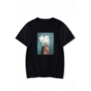 Aesthetics Hot Fashion Short Sleeve Round Neck Figure Floral Printed Unisex Loose T-Shirt