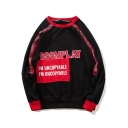 Street Style Letter BOOMPLAY Printed Patchwork Long Sleeve Unisex Loose Pullover Sweatshirt