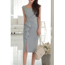 Women's Round Neck Ruffle Design Split Front Grey Midi Sheath Dress