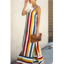 Fashion Rainbow Stripe Printed V-Neck Spaghetti Straps Split Side Maxi Slip Dress