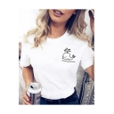 Cartoon Whale Pattern Round Neck Short Sleeve Casual Pullover Tee