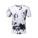Mens Fashion Monochrome Landscape Print Short Sleeve White Casual T-Shirt